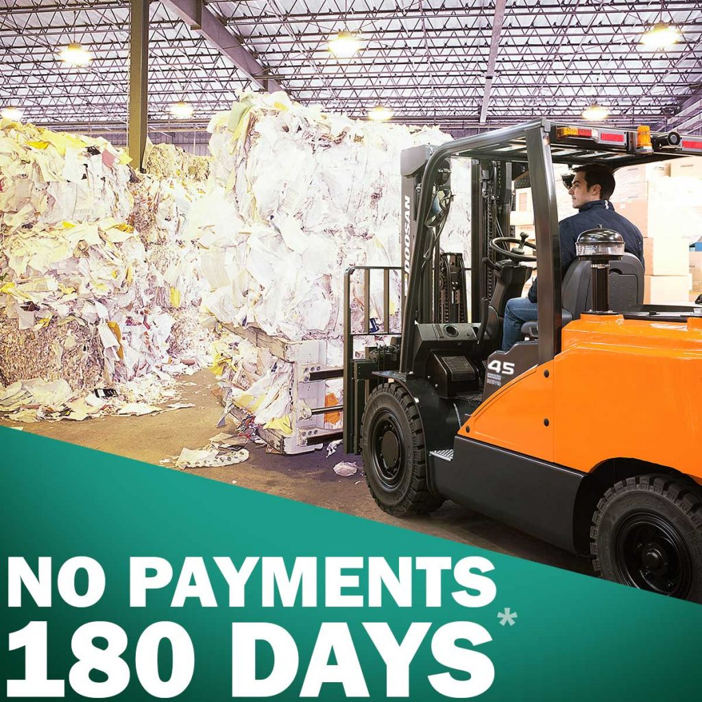 180 days deal banner doosan forklift in a recycling facility